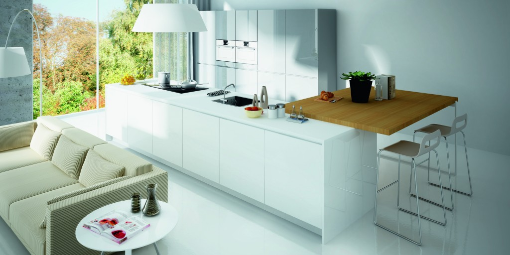 Cocina con isla central LUXE ALVIC SOLID COLOR tirador Fingerpull - ALVIC CENTER